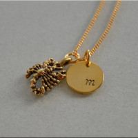 Personalized Scorpio Necklace, Zodiac Necklace, Scorpio Jewelry, Initial charm necklace, Personalized, Scorpio charm, monogram, zodiac
