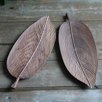 Wooden Black Walnut Leaves Designed Plate Tableware