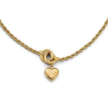 14k Yellow Gold Puffed Heart Rope Chain Necklace, 17 Inch