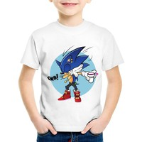 Cartoon Print Dabbing Hipster Sonic The Hedgehog Children T-shirts Kids Summer Tees Boys/Girls Funny Tops Baby Clothes,HKP2221