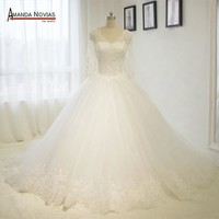 Stunning New Lace Sleeves Princess Ball Gown Wedding Dresses Wedding Gown