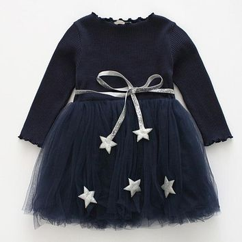 Girls Dresses New Fashion Princess Clothing Net Yarn Dress Pentagram Waistband Decoration Ball Gown