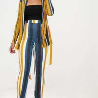 Mustard Staight Leg Striped Trouser