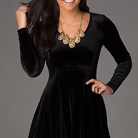 Short Velour Long Sleeve Dress