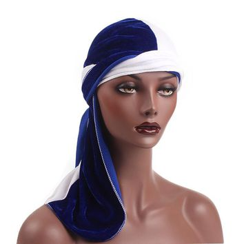 Unisex Fashion Velvet Bandanas Hat Women Solid Breathable Bandana Hats Men Turban Cap Doo Durag Headwear Beanie Accessories C268