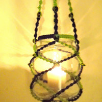 Hanging macrame lantern - navy blue & lime green with glass beads from India - around a repurposed old jar - flamess LED candle included