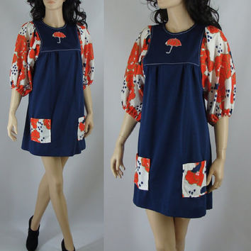 Vintage Mod Dress, Sixties Baby Doll Umbrella Novelty Dress, Large, XL, Mod Lolita
