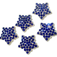 21mm royal blue 4th of July star metal rhinestone flat back button