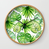 tropical leaves Wall Clock by sylviacookphotography