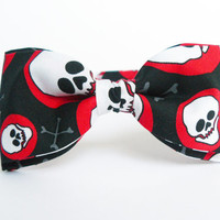 Halloween Pre Tied Bow Tie by Bartek Design - skull black white red party