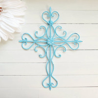 Aquamarine Ornate Metal Cross Wall Art / Aqua Home Decor / Cross Decor / Cross Wall Decor / Cross Wall Hanging / Christmas in July
