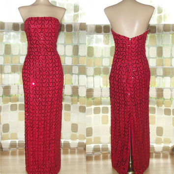 Vintage 60s RED Sequin Full Length Wiggle Cocktail Dress S/M Formal Bombshell Trophy Gown Mike Benet Formals