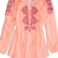 AEO Women's Embroidered Boho Top (Bright Cozy Pink)