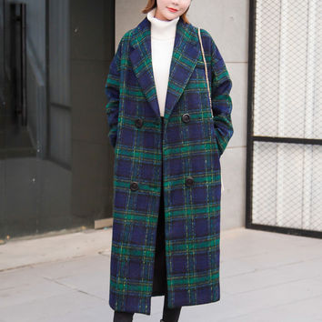 New 2016  women coat Women's Slim  Woolen Coat Autumn Winter wool coat slim winter coat plaid