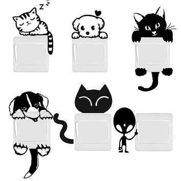 DIY Funny Cute Cat Dog Switch Stickers