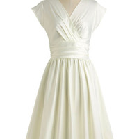 ModCloth Vintage Inspired Long Cap Sleeves Fit & Flare Love You Ivory Day Dress