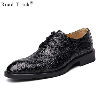 Road Track PU Leather Shoes Men Loafers handmade Crocodile Lace-up Shoe Men Moccasins Men's Dress Shoes