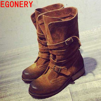 new 2016 full genuine leather women mid calf boots woman autumn winter boots shoes woman riding motorcycle lady boots egonery