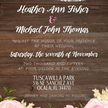Rustic Wedding Invitation, Floral, String of Lights, Wood Background, with RSVP Card, PRINTABLE