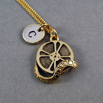 Film Reel Necklace, Movie reel, 24K yellow gold antique pewter, initial necklace, personalized necklace