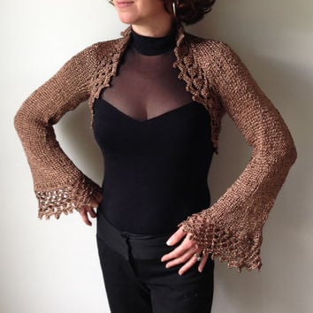 Metallic Gold Bolero Shrug - Ballroom Cover Up - Knit Crochet - Bridal Shrug - Wedding Wrap Stole