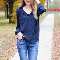 * You're Too Good For Him Leopard Print Blouse: Navy/Black