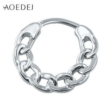 ac PEAPO2Q AOEDEJ Septum Clicker 16g Stainless Steel Body Jewelry Real Septum Ring Indian Nose Ring Silver Nose Clicker Piercing Nez Indien