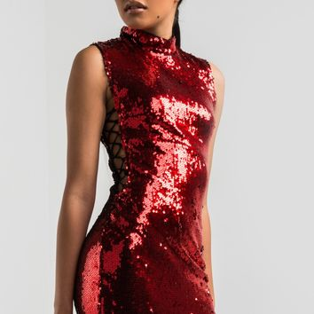 Mock Neck Open Side Sequin Bodycon Mini Dress in Red