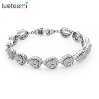 LUOTEEMI Brand 4Colors Pearl Shape Cut AAA Cubic Zirconia Women Bridal Bracelet Bangles For Fashion Women Jewelry