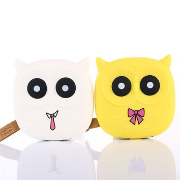 Fetile 2018 Cute Owl Cartoon Mobile Power Bank Charger External Battery 12000mAh Dual USB for Cellphone Smartphone Drop Shipping