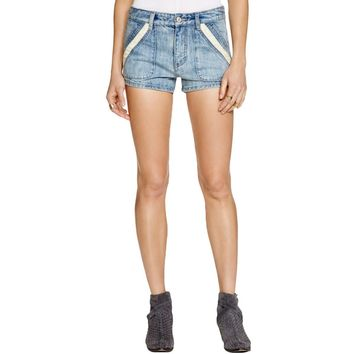 Free People Womens Sweet Surrender Crochet Inset Flat Front Denim Shorts