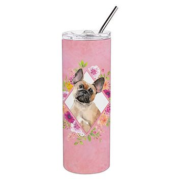 Fawn French Bulldog Pink Flowers Double Walled Stainless Steel 20 oz Skinny Tumbler CK4238TBL20