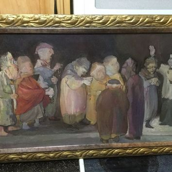 """Religious Blessing Rosary Impressionist Vintage Original Oil Painting 18x32"""""""