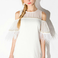 White Tassel See-through Sequins Feather Bubble Off-The-Shoulder Sleeve Mini Dress