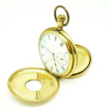 Vintage ELGIN Pocket Watch, Pocketwatch Half Hunter, Gold Plated, Stem Wind, Mechanical c.1912, REF:229H