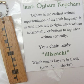 "Irish Ogham Keychain ""dilseacht"" for Loyalty - Trinity Crossing"