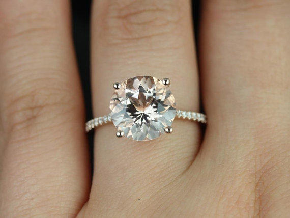 eloise 14kt rose gold round morganite and from rosadosbox on etsy