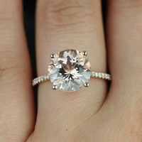 Eloise 14kt Rose Gold Round Morganite and Diamonds Cathedral Engagement Ring (Other metals and stone options available)