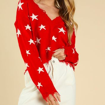 Wild Honey - Distressed Star Knit Sweater - Red
