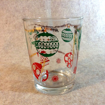 Vintage Holiday Hazel Atlas Glass or Tumbler - Red, Green and Gold Christmas Balls and Garland Design