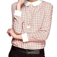 Women's Long Sleeved Blouse - White Collar and Cuff