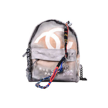 LIMITED EDITION 2014 ART CHANEL GRAFFITI Gray BACKPACK HANDBAG
