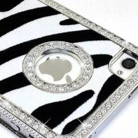 LiViTech(TM) Cushion Quilted Designer Diamond Rhinestone Crystal Bling Case iPhone 4 4S (AT&T ,VERIZON,SPRINT) (Zebra Silver): Cell Phones & Accessories