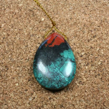 Sonora Sunset Cuprite Teardrop Pendant - Red Green and Black Focal