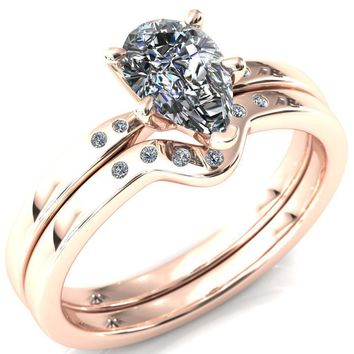 Maise Pear Moissanite 5 Prong Diamond Accent Engagement Ring