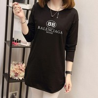 """""""Balenciaga"""" Women Simple Casual Letter Print Long Sleeve Middle Long Section T-shirt Tops"""
