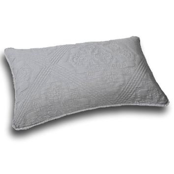 "DaDa Bedding Elegant Floral Grey Diamond Pattern Quilted King Pillow Sham - 20"" x 36"" (JHW855)"