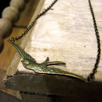 The Long Swallow Necklace by sodalex on Etsy
