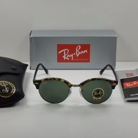 Cheap RAY-BAN CLUBROUND SUNGLASSES RB4246 1157 TORTOISE & BLACK/GREEN LENS 51MM NEW! outlet