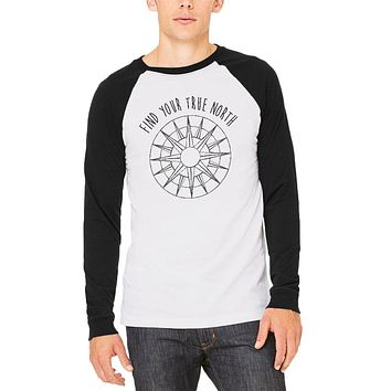 Hiking Outdoors Find Your True North Mens Long Sleeve Raglan T Shirt